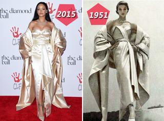 把64年前的裙子拿来穿身上,这事儿也只有Rihanna干得出来!