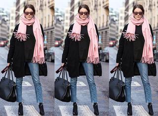黑外套+围巾,怎么搭都是美!