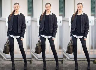 女人冬天一定要买黑色小脚裤,超级百搭!