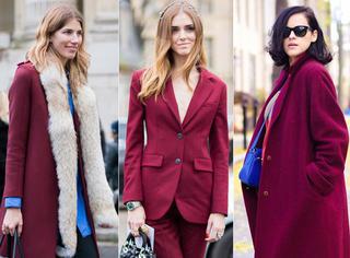 你还迷恋驼色大衣,会穿的人买了酒红色外套