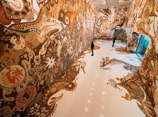 日本艺术家用尘土作画,这画面有点美…