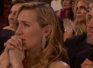 小李子获奖的那一刻,台下的凯特比他还要紧张!