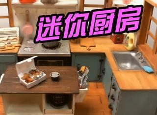 韩国妹子弄了个迷你厨房做迷你料理,画面太魔性