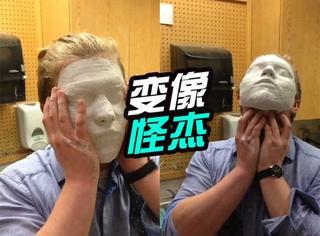 为做面具小伙在脸上涂上石膏,结果取不下来了