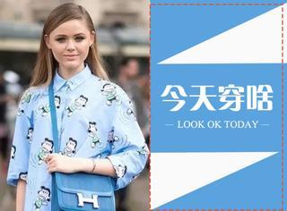 【今天穿啥】卡通衬衫裙搭配单宁包也能穿出时髦感