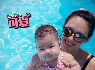章子怡女儿的泳装照曝光啦,胖乎乎的好想捏捏脸