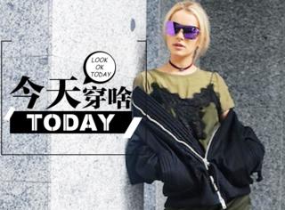 【今天穿啥】choker、夹克、吊带,流行元素混搭也能很好看!