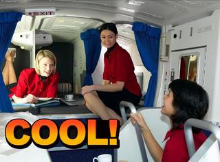 坐飞机的时候,空姐空少就睡在你头顶上!