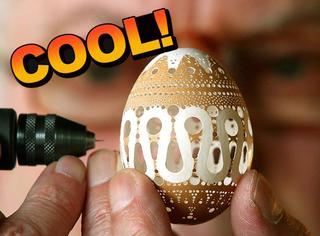 把鸡蛋壳雕刻成艺术品,给这个72岁的爷爷跪了