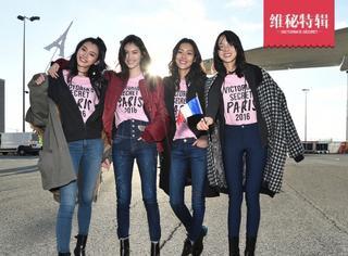 """四位中国超模齐聚""""维秘""""乘坐专机抵达巴黎,在机场刮起了一股粉色旋风!"""