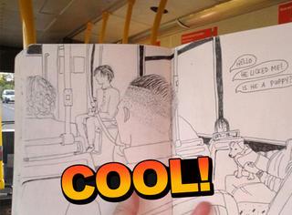 这个逗比画家将每天乘车听到的谈话绘成了趣图