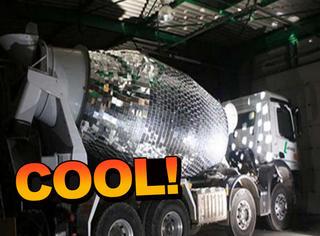 他把水泥搅拌车改装成舞厅球灯,转起来嗨翻了!