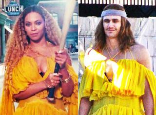 宇宙第一腐男付兰兰又扮女装了,穿着Beyonce的裙子简直辣眼睛!
