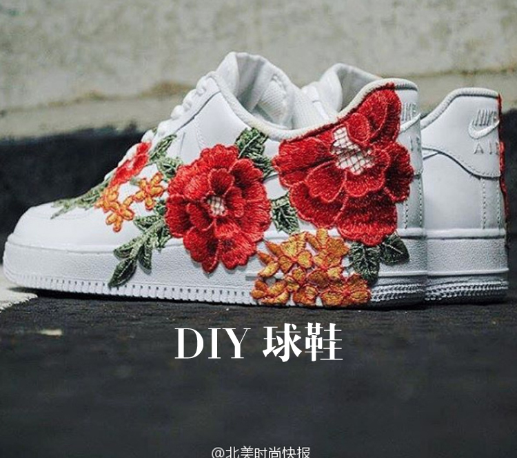 有人把白球鞋DIY上了中国刺绣,耐克一下就变成了Gucci