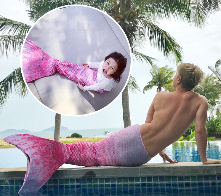 贾乃亮穿过的美人鱼尾脱给甜馨穿,好一个作死好汉!