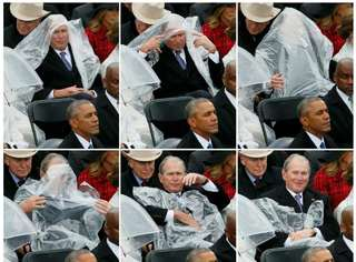 能当总统却不会穿雨衣,被雨打败的小布什衰起来有点萌!