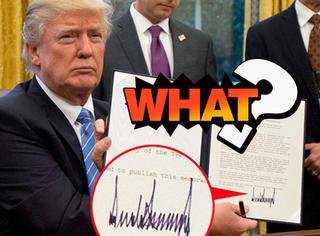 川普的签名只是上下画几笔?既像心电图又像手风琴!