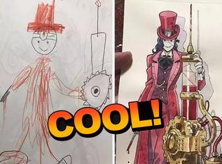 他将儿子们的简单涂鸦变成了超酷炫的动漫人物,棒呆惹!