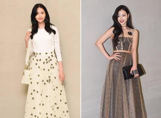 允儿和雪莉同框,论时髦度,还是穿Dior纱裙的雪莉赢了!