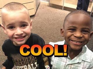 这个5岁小男孩的新发型引起了网友的注意!