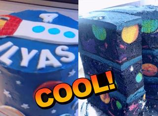 澳洲妈妈自制银河主题蛋糕,被美到了