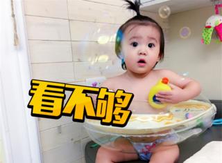 贾静雯家的大眼睛小咘咘,才一岁半就会撩汉了!