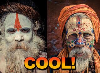 摄影师去拍了印度僧人的脸,太酷了