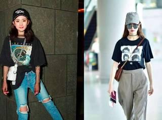 杨幂、唐嫣的T恤霸屏机场,学她们穿短袖,让你美到甩路人9条街