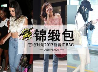 说它是2017的新晋IT Bag—肯豆杨幂都爱的锦缎包绝对当之无愧!