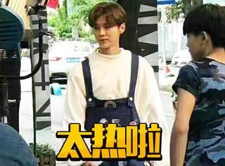 鹿晗拍摄《甜蜜暴击》路透,30多度天气穿玩偶装也太热了吧!