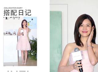 陈妍希粉嫩礼服十分少女,甜美梨涡性感迷人惹人爱~