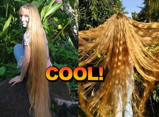 姑娘的头发和身高一样长,据说是和吃花生酱有关系!