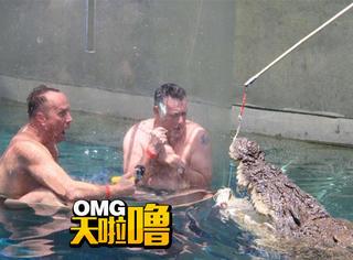 近距离接触水底巨鳄,而且只隔着一层塑料,厉害了!