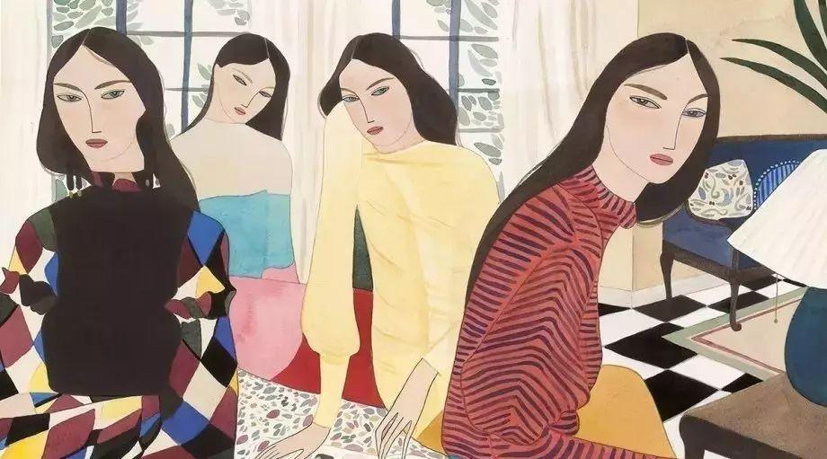 四个闺蜜可爱图