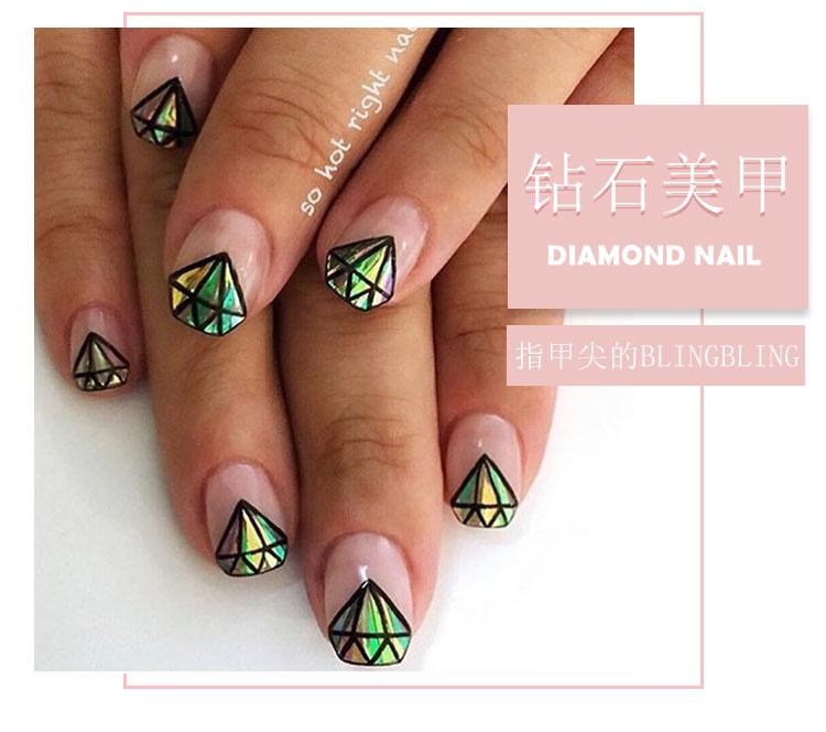 没收到过大钻戒,但是可以在指甲上画小钻石啊!