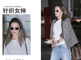 Alessandra Ambrosio女人味爆棚出街,基本款穿搭多亏有这件针织衫!