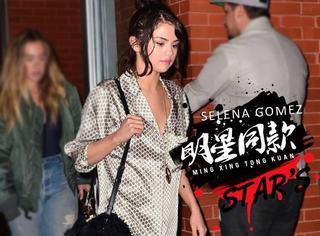 术后时尚度暴增的Selena深夜出街,一身睡衣身材加慵懒发型大秀性感身材~