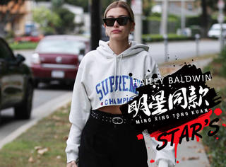 """Hailey Baldwin穿短款卫衣超有范 露蛮腰高调炫""""腹"""",性感迷人又帅又美"""