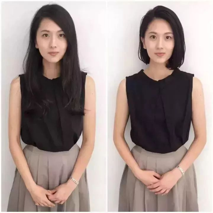 日本妹子剪完短发的前后对比,短发果然有毒
