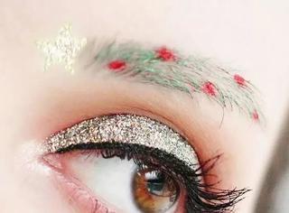 圣诞装扮新招儿,两棵圣诞树眉是今年最in~