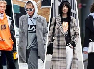 一件卫衣就能让你的大衣时髦到不!像!话!