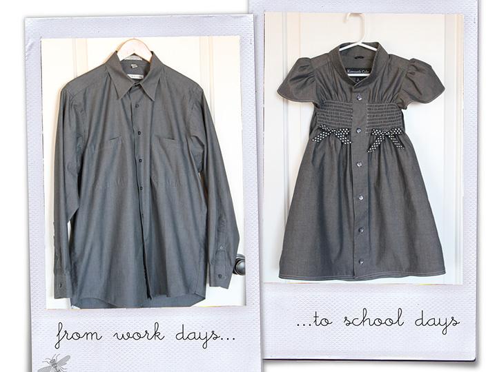 最有爱的衣服 就是用爸爸的衬衫给女儿做的连衣裙