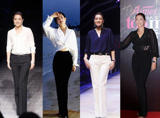 白衬衫+阔腿裤 就叫巩俐Style