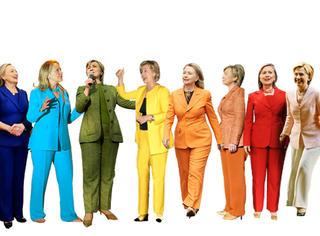 品位与女王神同步 希拉里最爱彩虹色套装
