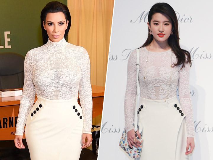 卡戴珊vs刘亦菲 撞衫不可怕 谁胖谁尴尬
